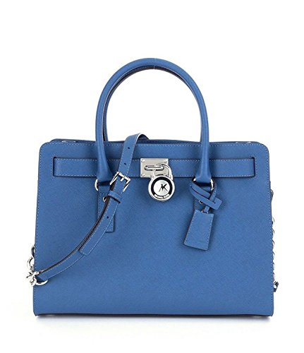 Michael Kors Hamilton Large Leather Satchel Handbag Steel Blue
