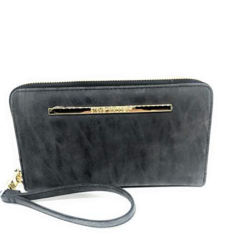 Steve Madden Nubuck Women's Suede Zip Around Wallet/Wristlet (Black with Gold Hardware)