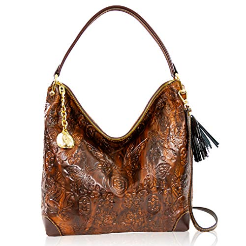 Marino Orlandi Women's Extra Large Handbag Italian Designer Tote Purse Genuine Leather Top Handle Satchel Crossbody Bag Hobo in Chocolate Brown Butterflies Embossed Design with Tassel