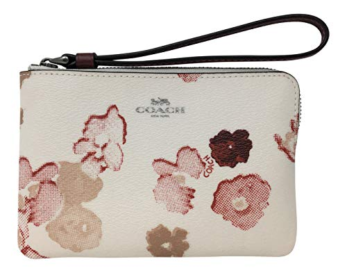 Coach Corner Zip Small Wristelt with Halftone Floral Print Chalk Red F39056