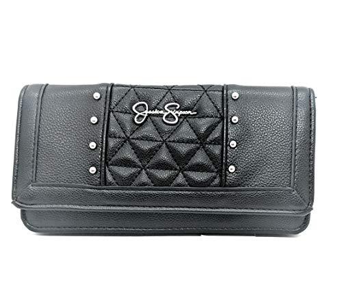 Jessica Simpson Women's LILY Buttoned Flap Wallet (JS14592)- Black