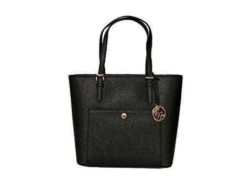 Michael Kors Jet Set Item Medium Top Zip Saffiano Leather Snap Pocket Tote – Black