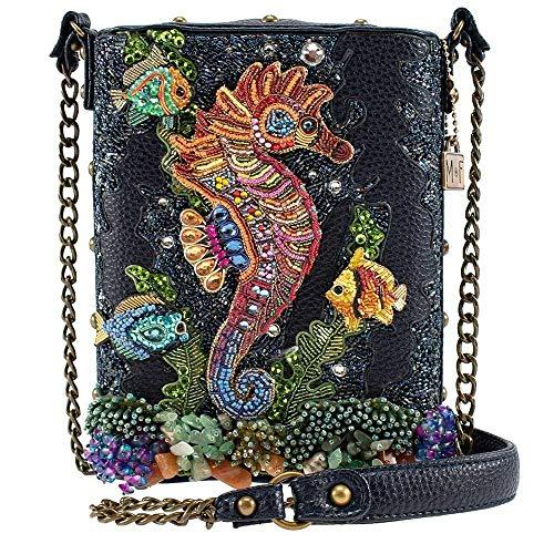 Mary Frances Drifting Along Embellished Sea Horse Crossbody Handbag Purse, Blue