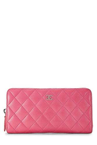 CHANEL Pink Quilted Calfskin Zip-Around Wallet (Pre-Owned)