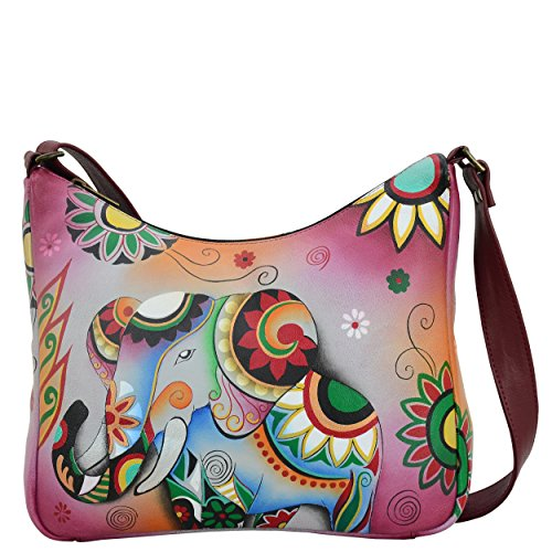 Anna by Anuschka Women's Genuine Leather Medium Hobo Shoulder Bag | Hand Painted Original Artwork | Retro Elephant