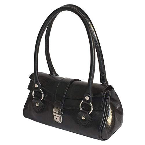 Floto Womens Custom Initials Personalization Corsica Top Handle Shoulder Handbag in Black