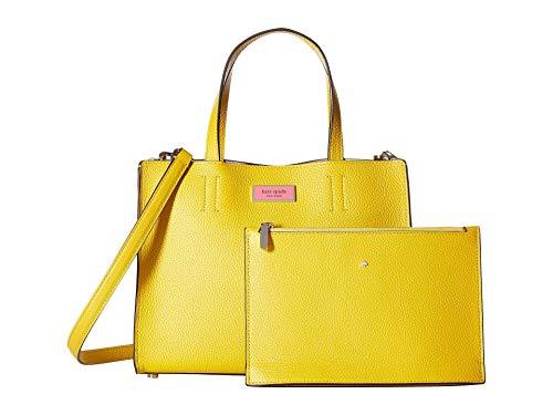 Kate Spade New York Sam Medium Pebble Leather Satchel Bag, Canary Yellow