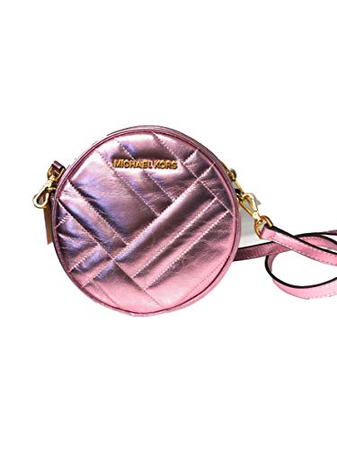 Michael Kors Vivianne Canteen Metallic Quilted Leather Crossbody Bag in Pink