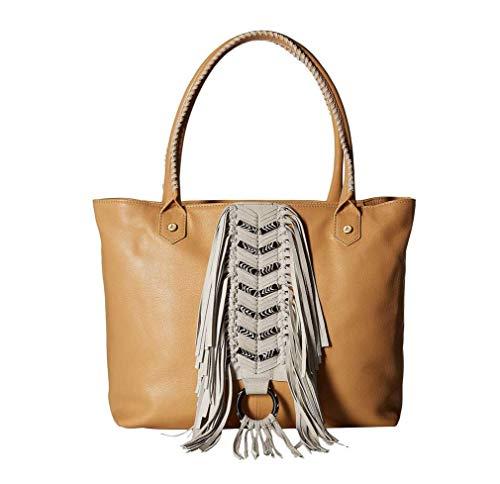Sam Edelman Womens Solana Leather Fringe Tote Handbag Tan Large