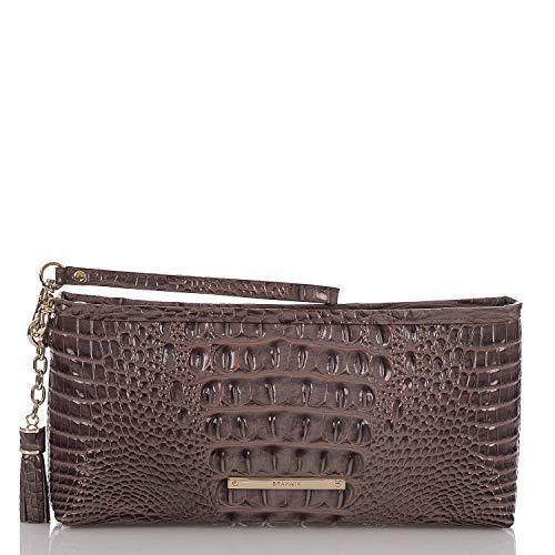Brahmin Kayla Croco emb Leather Wristlet Clutch Aubergine Melbourne