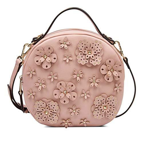 Nine West Devonna Circle Floral Applique Crossbody Bag, Modern Pink