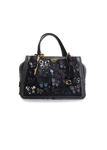 Coach Dreamer With Butterfly Applique And Snakeskin Detail in Black