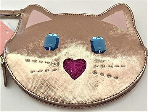 Betsey Johnson rose gold LBKIT jeweled cat coin purse