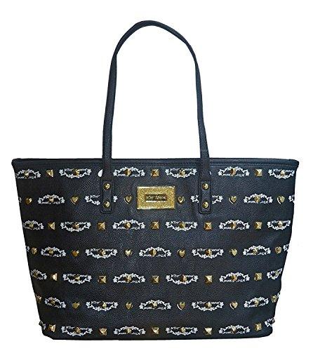 Betsey Johnson E.W. Signature Logo Stud Tote Purse Handbag Bag Black