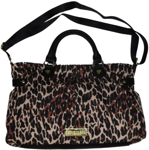 Betsey Johnson Cheetah Punk 2 Zip Natural Satchel