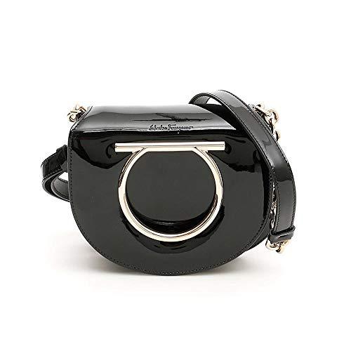 SALVATORE FERRAGAMO Patent Leather Small Gancini Vela Handbag Black