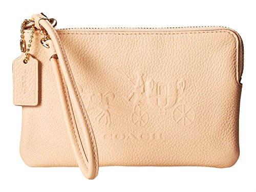 COACH 52500 Embossed Horse and Carriage Small L-Zip Wristlet in Apricot Leather