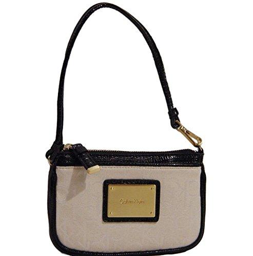 Calvin Klein CK Logo Black/Ivory Wristlet Bag Walllet