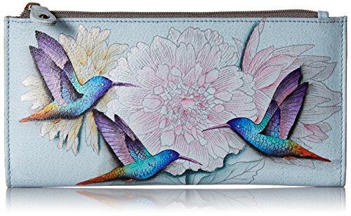 Anuschka Women's Hand Painted Leather Two Fold Wallet, Rainbow Birds
