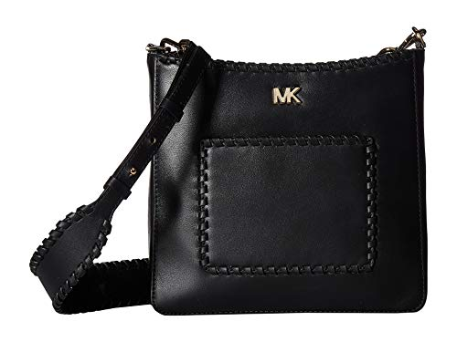 Michael Kors Gloria Whipstitched Leather Messenger Bag- Black
