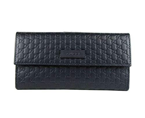 Gucci Women's Dark Blue Microguccissima Leather Continental Wallet 449393 4009