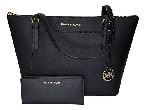 Michael Kors Michael Michael Kors Ciara Large East West TZ Tote Bundled Jet Set Travel Slim Bifold Wallet (Black)