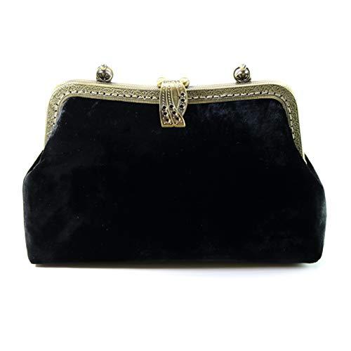 Jan&Dee Women Silk Velvet Evening Handbag Party Bridal Clutch Purse Shoulder Cross Body Bag Top Handle