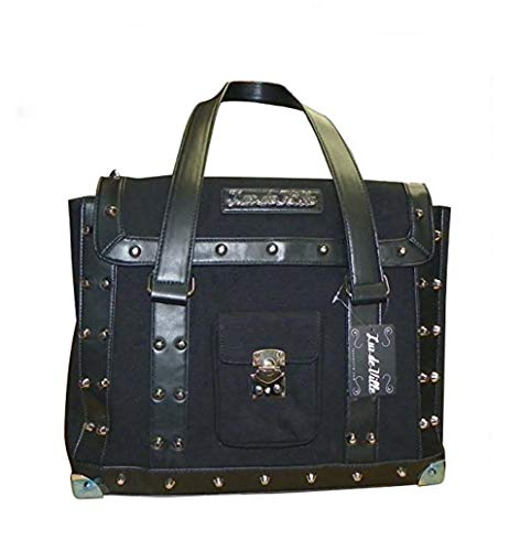 "Retro Black Canvas ""Mini Weekender"" Studded Hand Bag with Lock"