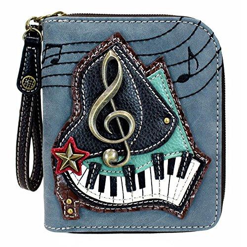 Chala Piano Zip-Around Wristlet Wallet, Music Lover Piano Player Teacher