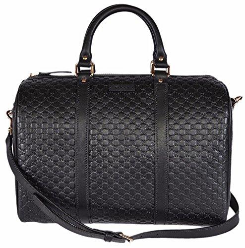 Gucci Women's Leather Micro GG Guccissima Convertible Boston Satchel Handbag (Black)