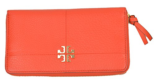 Tory Burch Leather Wallet Ivy Red Samba Zip Logo TB Continental