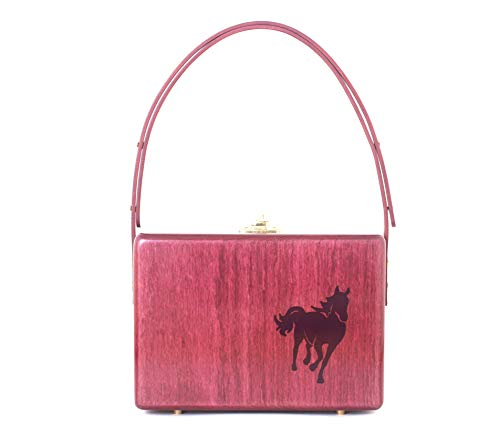 Onjoe Nature Women's Quality Handcrafted Wooden Bag, Western Style Horse Design Purse, Leather Expandable Handle – Made in USA