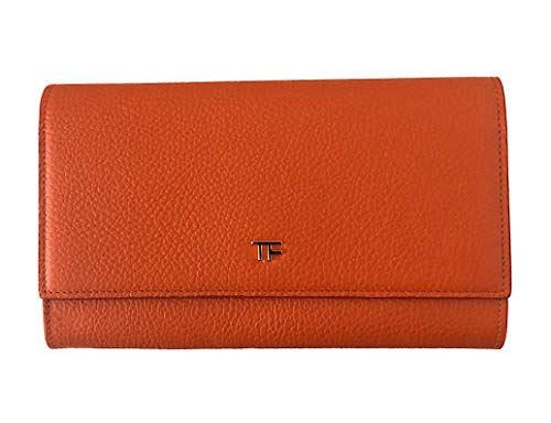 Tom Ford Wallet Pebbled Leather Continental Flap Orange
