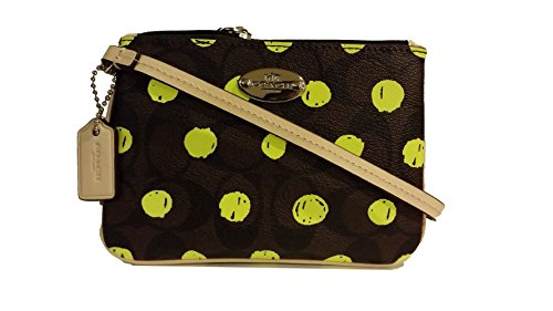 Coach Dot Print Small PVC Wristlet 52581 Brown Neon Yellow