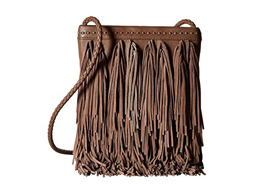 Sam Edelman Womens Jane Leather Fringe Crossbody Handbag Taupe Medium
