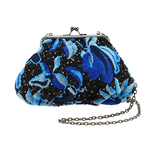 Mary Frances Night In Paradise Hand Beaded Floral Embroidered Jeweled Sequined Mini Handbag Shoulder Bag