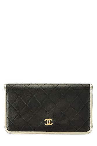 CHANEL Black Quilted Lambskin Long Wallet (Pre-Owned)