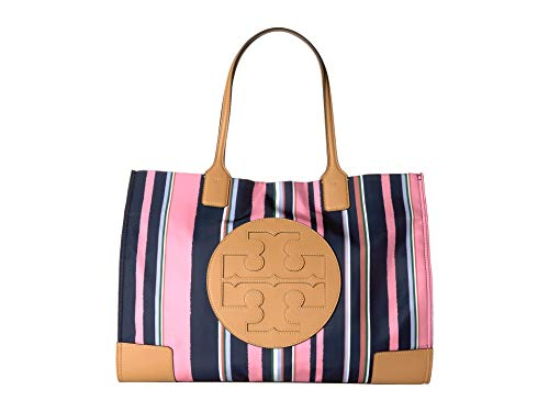 Tory Burch women ella shoulder bag canyon stripe vertical/perfect navy