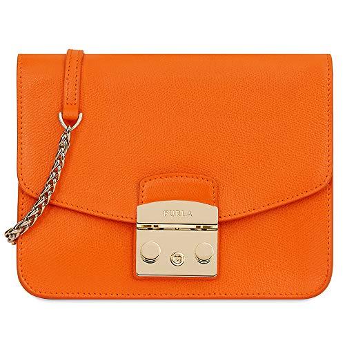Furla Metropolis Ladies One Size Orange Leather Crossbody Bag 1007216