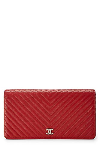 CHANEL Red Calfskin Chevron Wallet (Pre-Owned)