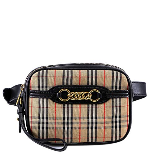Burberry Women's Taupe Tartan Check Belt Bag with Chain
