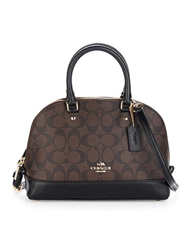 Coach F27583 IMAA8 Mini Sierra Satchel Brown/Black Signature Crossbody Handbag