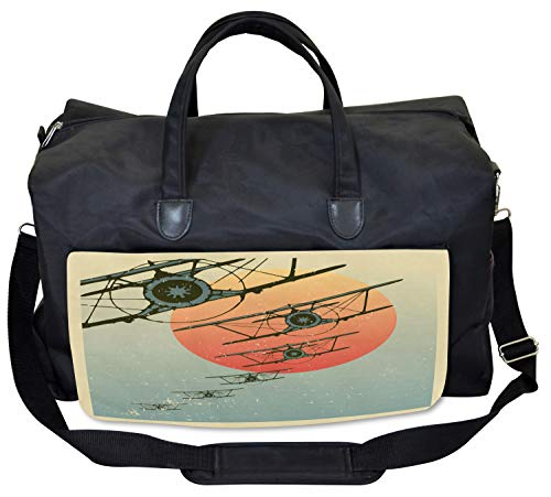 Lunarable Vintage Airplane Gym Bag, Evening Sun Grungy, Large Weekender Carry-on