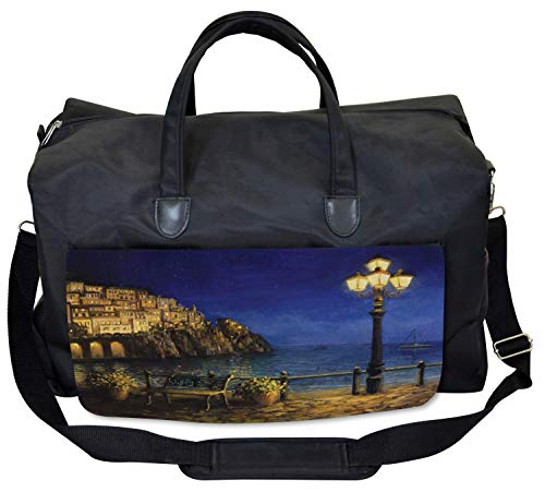 Lunarable Italy Gym Bag, Romantic Evening at the Coast, Large Weekender Carry-on