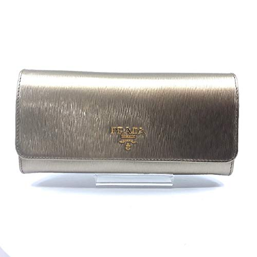 Prada Women's Metallic Gold Vitello Move Long Leather Flap Wallet 1MH132