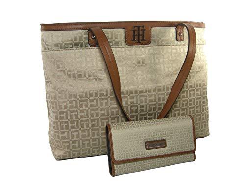 New Tommy Hilfiger TH Logo Purse Handbag Tote & Wallet 2 Piece Set Beige Khaki
