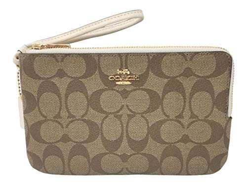 Coach Signature PVC Double Zip Wristlet Wallet Khaki Chalk F16109