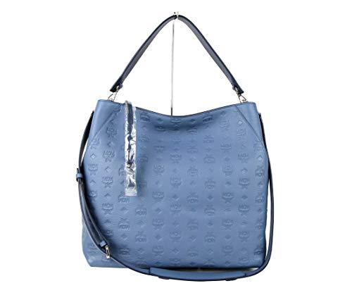MCM Women's Luft Blue Monogram Leather Large Klara Hobo Bag MWH8AKM55HF001