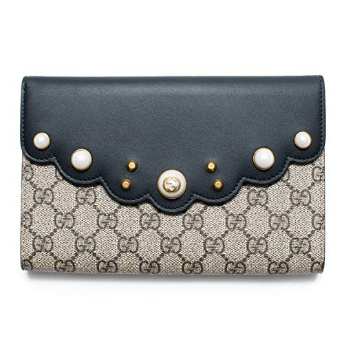 Gucci GG Supreme Moon Beige Black Pearl Gold Pouch Wallet Bag New Clutch Italy