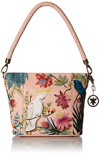 Anuschka Women's Medium Leather Hand Painted Shoulder Bag, Cockatoo Sunrise